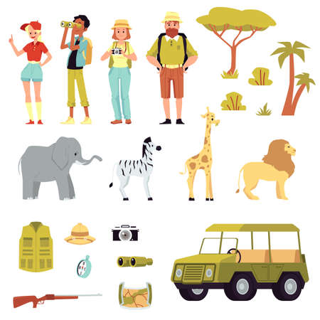 Set of people on Safari Tour including icons of animals, weapon and car, flat vector illustration isolated on white background. African safari equipment and tourists. Иллюстрация