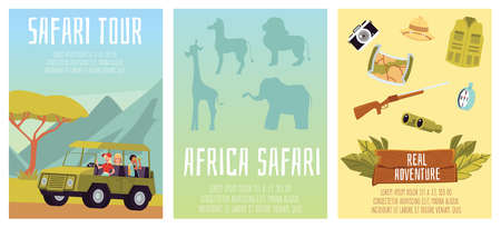 Safari tour of african wildlife. Design for tourism, travel, expedition and adventure. Vector flat illustrations. A set of banner or poster templates with inscriptions