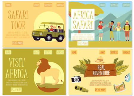 Set of website banners for African safari tour with characters of people and african animals, flat vector illustration. Traveling and tourism to Africa. Иллюстрация