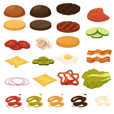 Big set of burgers ingredients and toppings, flat vector illustration isolated on white background. Kinds of vegetables and meat for burger and hamburger preparing. Vektorové ilustrace