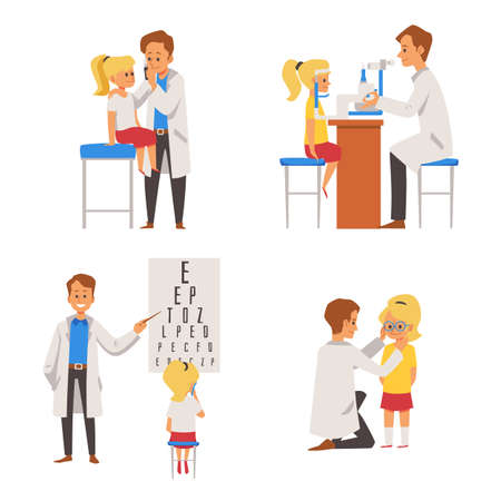 Set of children eye vision checkup in ophthalmological clinic. Doctor conducting eyesight examination of child, flat vector illustration isolated on white background.
