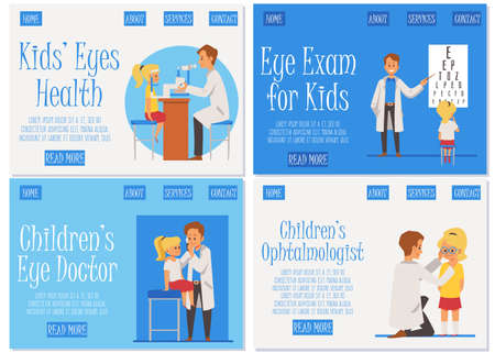 Consultation with kids eye doctor. An ophthalmologist checks the vision and selects glasses using equipment in medical office. Set of landing pages templates. Vector flat illustration