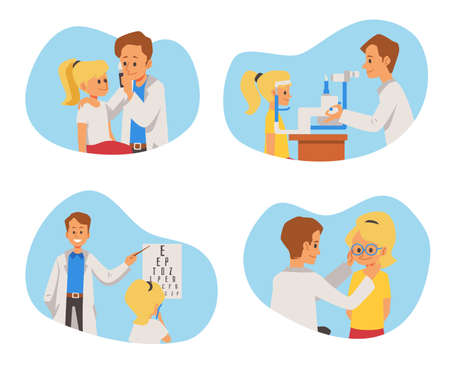Set of banners with pediatric oculist or ophthalmologist conducting vision test for child. Flat vector illustration of eye examination isolated on white background. Illusztráció
