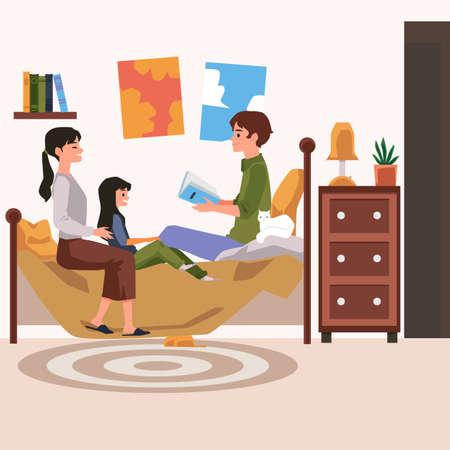 Family at home enjoying bedtime reading together, flat vector illustration. Children bedroom interior with parents and child girl listening a story before bedtime.