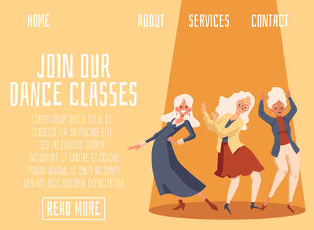Dance classes for seniors invitation banner template with elderly dancing women characters, flat vector illustration. Leisure and recreation centre for old people ad.