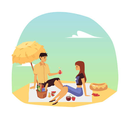 Romantic couple summer picnic on seashore scene, flat vector illustration. Man and woman cartoon characters enjoying eating out and joint vacation on beach.