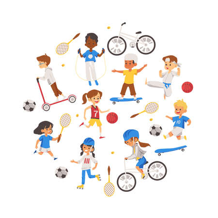 Characters of kids playing sports. Physical activity of children in the gym and outdoors. Vector illustration isolated on a white background.