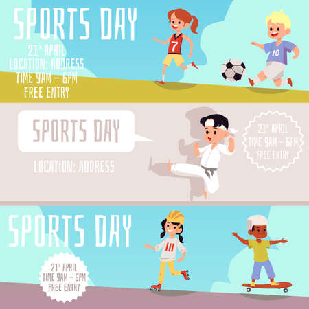Set of banner or flyers for children sports day with kids exercising and playing different sports outdoors, flat vector illustration on colorful background. Vetores