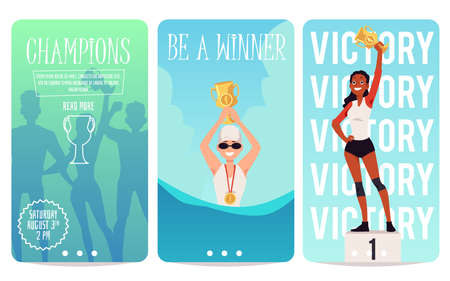Sport victory - cartoon poster set with athlete champions celebrating success and winning gold cup. Onboarding banners with swimmer and runner people, vector illustration Vector Illustration