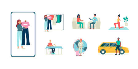 Set of bloggers and vloggers making live video channel with interview and overview fashion, fitness, travel, food and service car. Vector flat cartoon isolated illustrations. Ilustração Vetorial