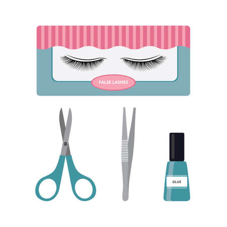 False lashes and application tools set - beauty fake eyelashes applying makeup equipment. Scissors, tweezers and eyelash glue, isolated vector illustration. Vettoriali