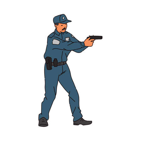 Policeman male cartoon character shooting from weapon, sketch vector illustration isolated on white background. Armed police forces cop or quad on duty.