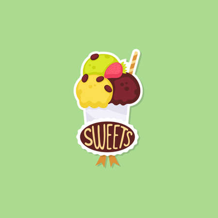 Summer sticker design of sweet chilling summer ice cream dessert, flat cartoon vector illustration isolated on background.