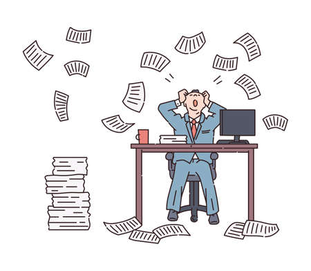 Paper avalanche and chaos for an office worker. A person in stress overloaded with paperwork a lot of business letters and documents. The linear vector illustration. Vectores