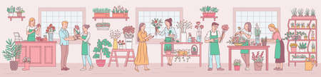 Flower shop interior background with florists women characters arranging plants floral compositions, sketch cartoon vector illustration. Professional floristic crew.