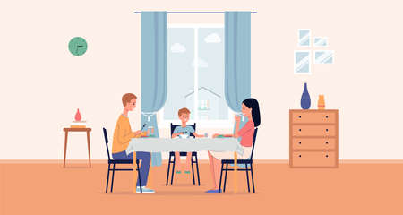 Family couple with child sitting at table and eating together in room interior, flat vector illustration. Dining room background with family having lunch or breakfast.
