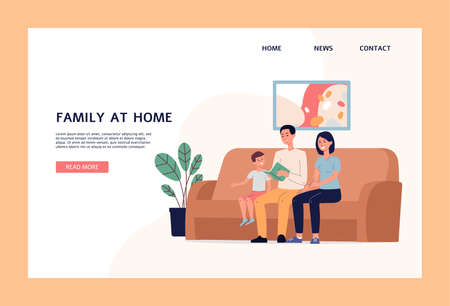 Family at home web page mockup with married couple and child watching movie, flat vector illustration on white background. Family recreation and leisure landing page.