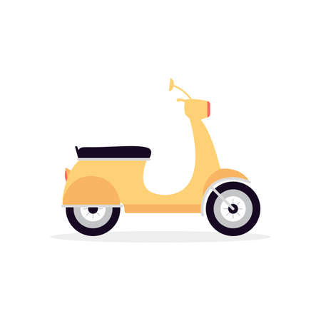 Light city motorcycle or moped cartoon icon, flat vector illustration isolated on white background. Motorized city car for delivery services and daily trips.