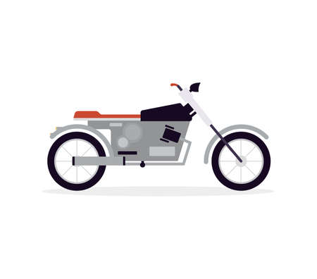 Cartoon icon of motorcycle or motorbike with chromed details, flat vector illustration isolated on white background. City urban roads transport or vehicle symbol. Vettoriali