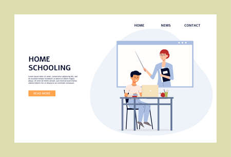 Home schooling web banner template with child cartoon character getting lesson online, flat vector illustration on white background. Homeschooling and distance education.