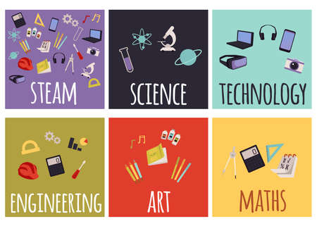 Set of steam education icons for learning and implementing education in real life. School subjects with equipment for studying, flat cartoon vector illustration