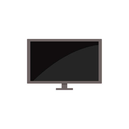 Modern lcd or plasma tv with big screen cartoon icon, flat vector illustration isolated on white background. Digital television with blank display symbol.