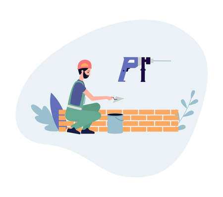 Construction and masonry works banner with bricklayer builds a brick wall, flat vector illustration isolated on white background. Backdrop for construction service.