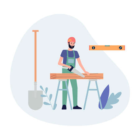 Builder or construction worker cartoon character sawing wood boards, flat vector illustration isolated on white background. Construction and repair works banner template.