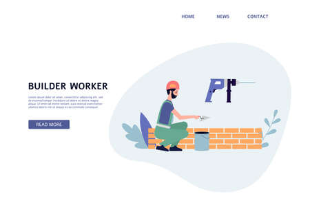 Builder worker services web page interface with construction worker or bricklayer character, flat vector illustration. Landing page for building and construction works. Ilustración de vector