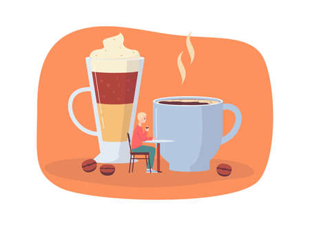 Hot coffee cup and sweet iced layered drink in glass with cartoon man drinking a beverage at cafe table. Vector illustration of espresso and latte lover.