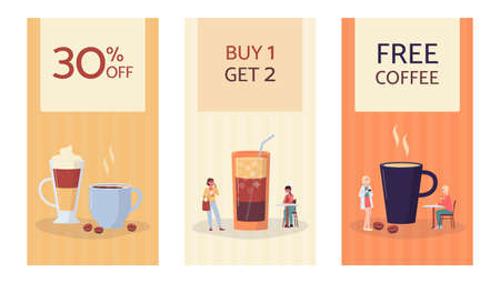 Set of coffee shop banners and sale flyers with tiny people characters among cups of coffee based drinks, flat vector illustration. Mockups for coffee shop promotion.