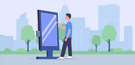 Man character using interactive self-service kiosk at cityscape background flat vector illustration. Modern service equipment for urban environment and transport. Illustration