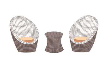 Rattan wicker garden furniture set of table and chairs, flat vector illustration isolated on white background. Garden and outdoor terraces furniture for house.