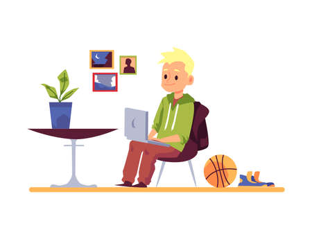 Child boy cartoon character studying remotely from home via laptop. Schoolboy getting internet lessons, flat vector illustration isolated on white background.