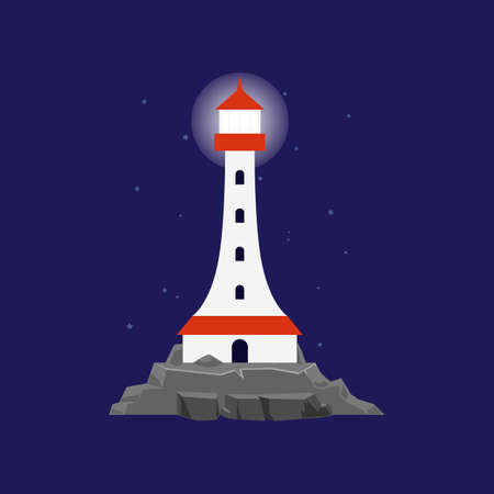 Sea beacon or lighthouse shining at night, flat cartoon vector illustration. Seacoast card or poster template with white nautical lighthouse tower standing on rocks.