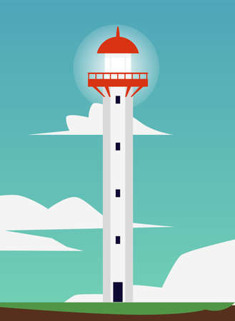 White tower of nautical beacon or lighthouse on sunny sky background, flat cartoon vector illustration. Summer seacoast or seashore card or poster template.