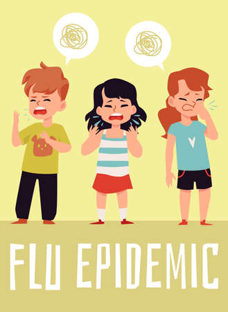 Flu epidemic poster, children with cold virus coughing and sneezing into their hands. Vector illustration of sick preschool kids with illness symptoms.