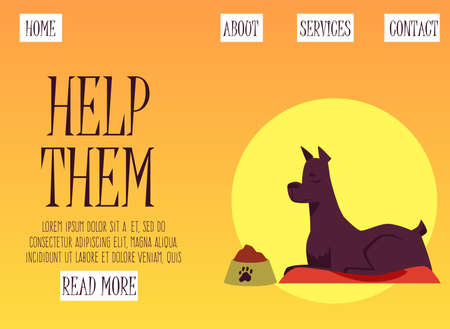 Web banner template for charity and donation, volunteering help for pets shelter and homeless animals, flat vector illustration. Animal shelter and foundation concept.