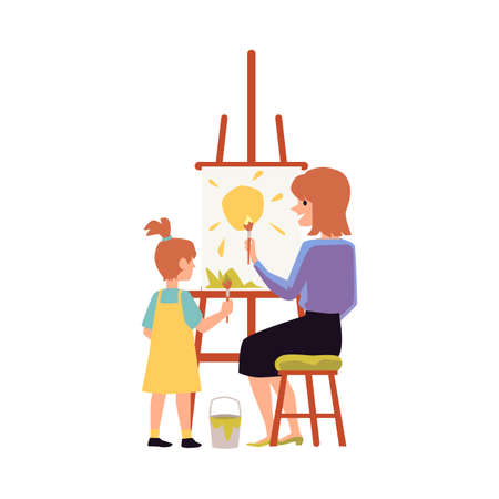 Mother and daughter keen on painting together, flat vector illustration isolated on white background. Mother and child joint leisure and good relationships.