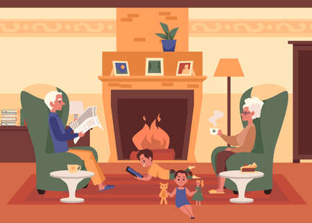 Grandparents and grandchildren in living room interior with fireplace, flat vector illustration. Family relationships and senior people lifestyle banner background.