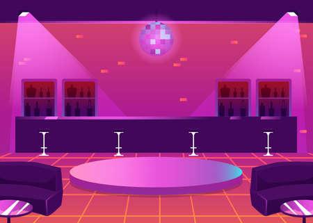 Empty nightclub or pub interior with bar counter and dance floor, flat vector illustration. Night restaurant or dance club interior background in bright purple tints. Ilustração