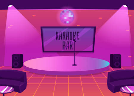 Karaoke bar interior with stage for music performance and furniture, flat vector illustration. Nightclub background for karaoke events and entertainment show.