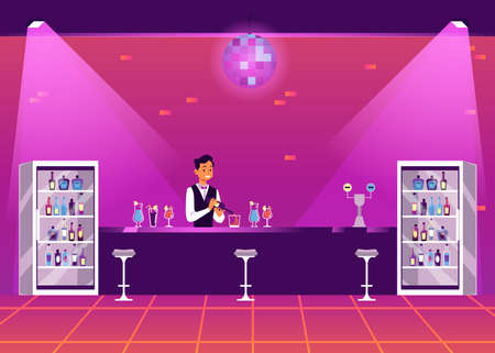 Empty bar counter in disco nightclub - cartoon bartender man at stand serving alcohol cocktail drinks in purple night club interior with lights. Vector illustration.