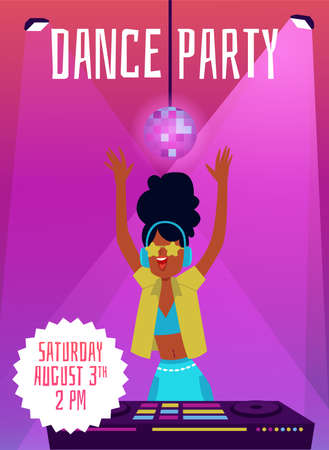 Dance party poster or banner template with DJ young girl cartoon character in night club. Dance and music disco club party banner, flat cartoon vector illustration. Ilustração