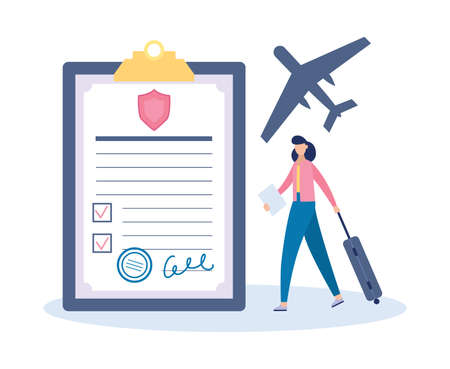 Travel insurance with tiny tourist and insurance policy. Financial protection of travels risk around the world, flat vector illustration isolated on white background.