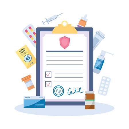 Healthcare medical insurance policy contract on clipboard surrounded with drugs, flat vector illustration isolated on white background. Symbol for medical insurance.