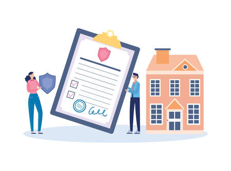 House and property insurance concept with agent and house owner characters, flat vector illustration isolated on white background. Insurance contract signing scene. Illusztráció