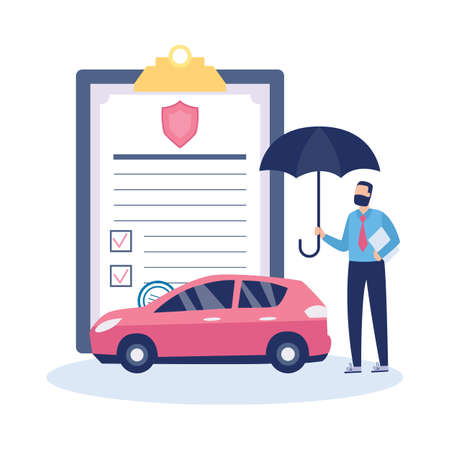 Emblem or banner design for transport insurance agency with agent character holding an umbrella over a car, flat vector illustration isolated on white background. Иллюстрация