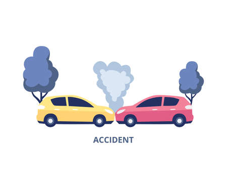 Car accident symbol for insurance agency and transport repair, flat vector illustration isolated on white background. Road transport crash and car collision. Иллюстрация