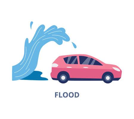 Flood and natural disaster car insurance banner template, flat vector illustration isolated on white background. Transport insurance or belay agency emblem design. Illusztráció